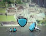 Lisa Bridge Turquoise &  Black Sapphire Ring