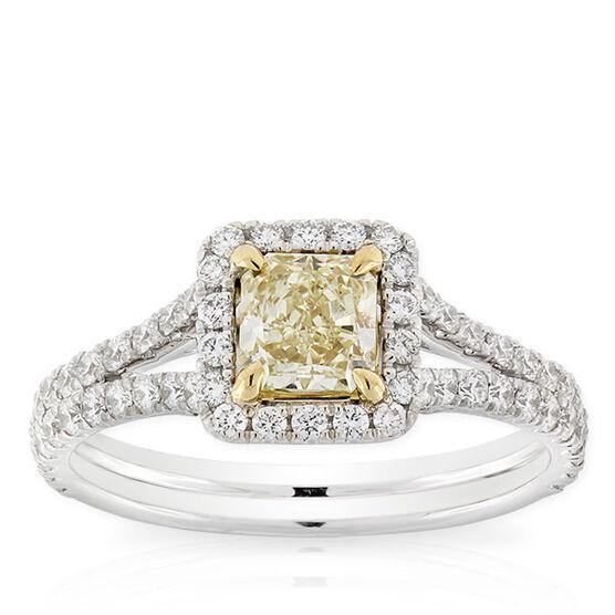 Radiant Cut Yellow Diamond Halo Ring 18K