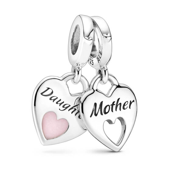 Pandora Double Heart Split Dangle Enamel Charm