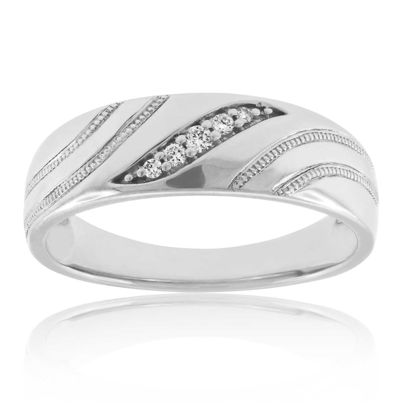Menu0027s Diamond Wedding Band ...