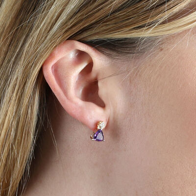 Trillion Amethyst & Diamond Earrings 14K