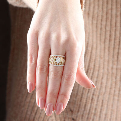Pear Shaped Center Diamond Cluster Filigree Ring 14K