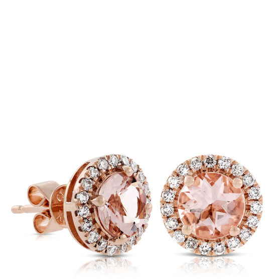 Rose Gold Morganite & Diamond Earrings 14K