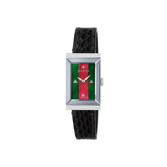 Gucci G-Frame Green & Red Bee Leather Watch