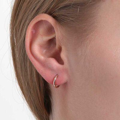 Rose Gold Smooth Huggie Hoop Earrings 14K