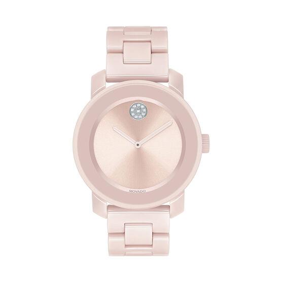 Movado Bold Pink Crystal, Ceramic, & Steel Watch