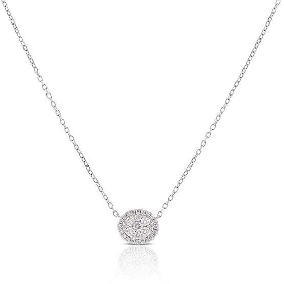 Diamond Cluster Oval Necklace 14K