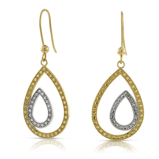 Diamond Cut Double Pear Shaped Earrings 14K