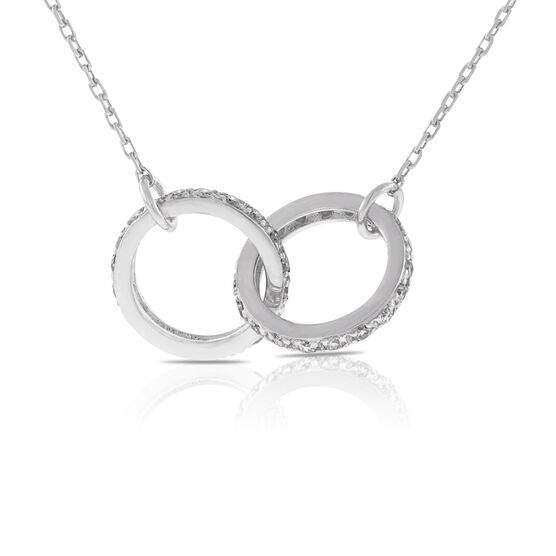 Interlocking Diamond Rings Necklace 14K