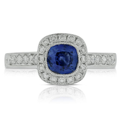 Cushion Sapphire & Diamond Ring 18K