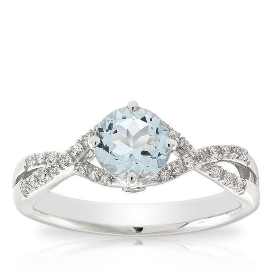 Aquamarine & Diamond Twist Ring 14K