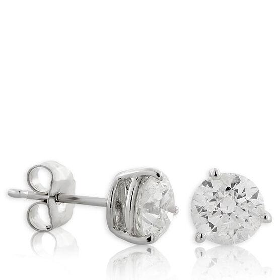 Diamond Solitaire Stud Earrings 14K, 1.5 ctw.