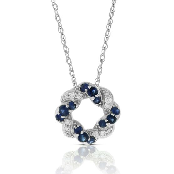 Sapphire & Diamond Swirl Knot Pendant 14K