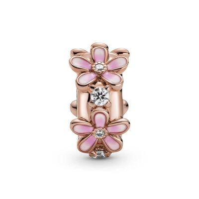 Pandora Rose™ Pink Daisy Enamel & CZ Spacer Clip Charm
