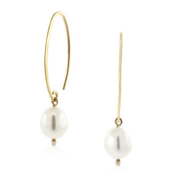 Freshwater Cultured Pearl Drop Oval Wire Earrings 14K