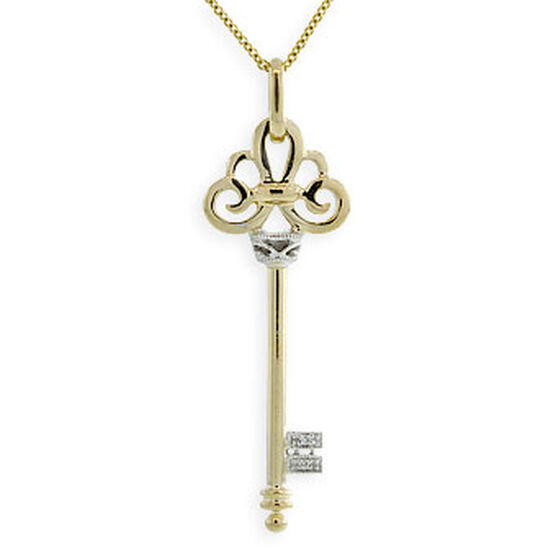 Diamond Key Pendant 14K