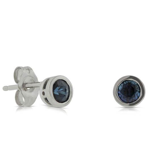 Bezel Set Sapphire Earrings 14K