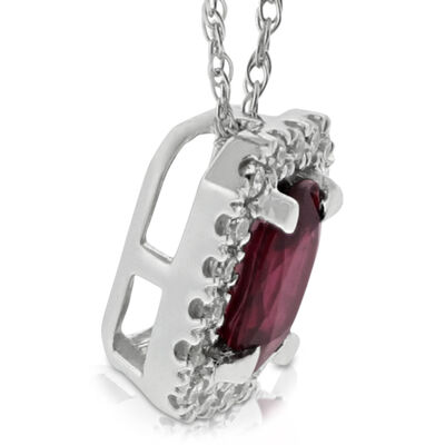 Oval Ruby & Diamond Halo Pendant 14K