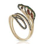 Orange Sapphire, Tsavorite & Diamond Bypass Ring 14K