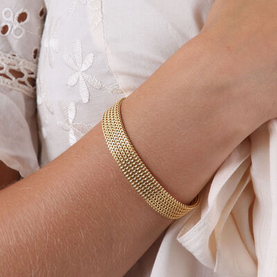 Toscano Five Row Franco Chain Bracelet 14K