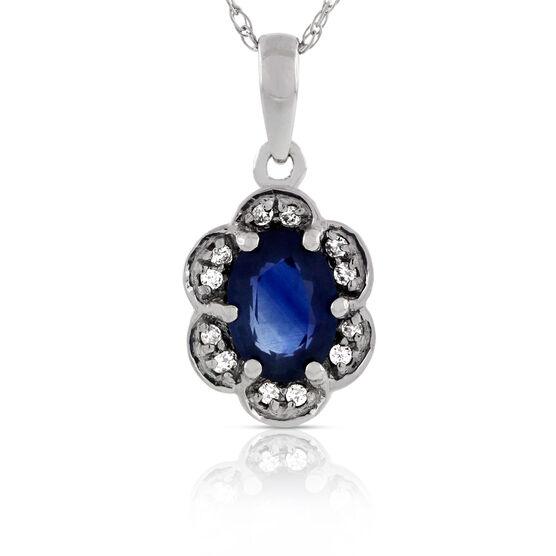 Sapphire & Diamond Flower Pendant 14k