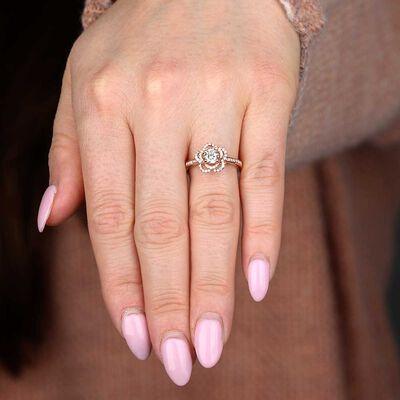 Rose Gold Diamond Flower Engagement Ring