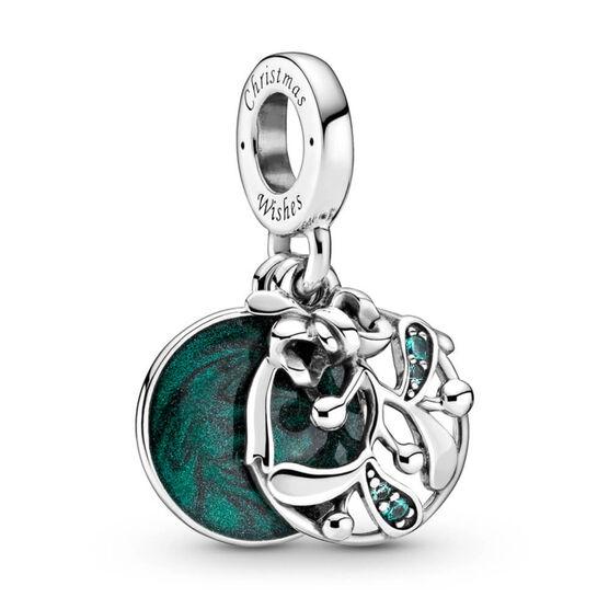 Pandora Christmas Mistletoe Enamel & Crystal Dangle Charm
