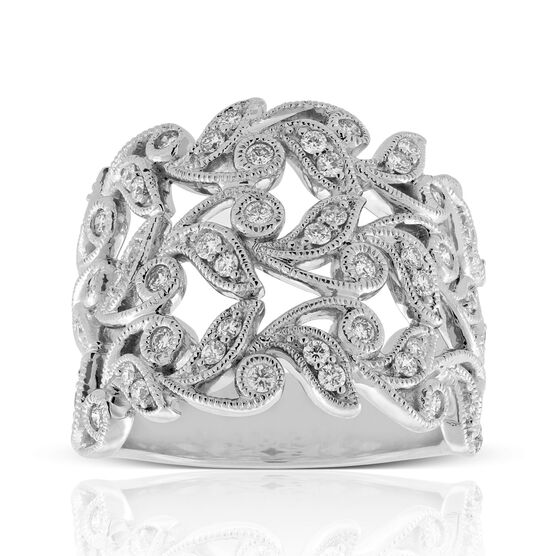 Wide Floral Diamond Band 14K