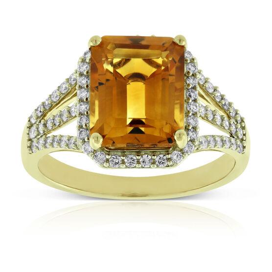 Madeira Citrine & Diamond Cocktail Ring 14K