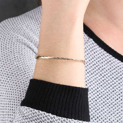 Toscano Twisted Bangle Bracelet 14K