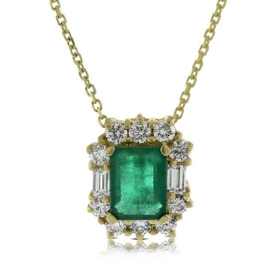 Emerald & Diamond Pendant 14K