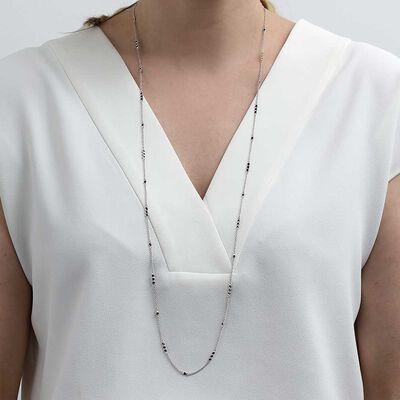 "Lisa Bridge Black Sapphire Necklace, 36"""