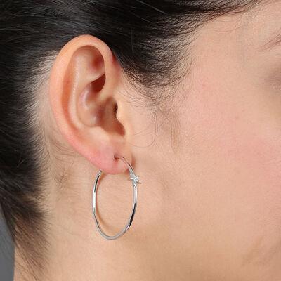 Diamond Star Hoop Earrings 14K