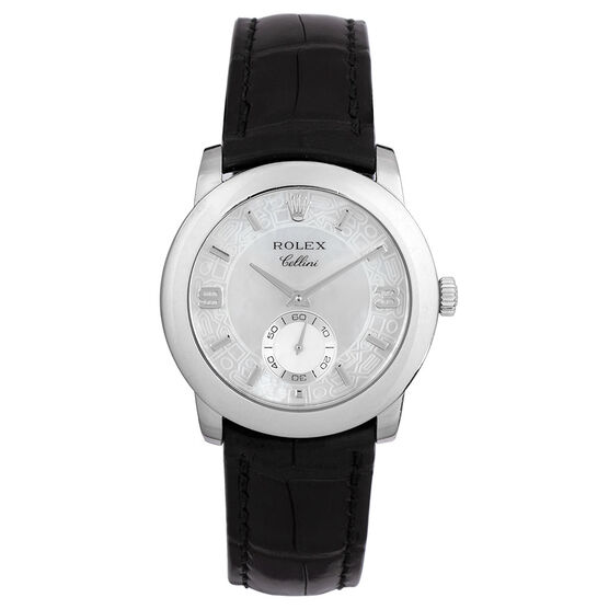 Pre-Owned Rolex Cellini Mother of Pearl Dial Watch, 34mm, in Platinum