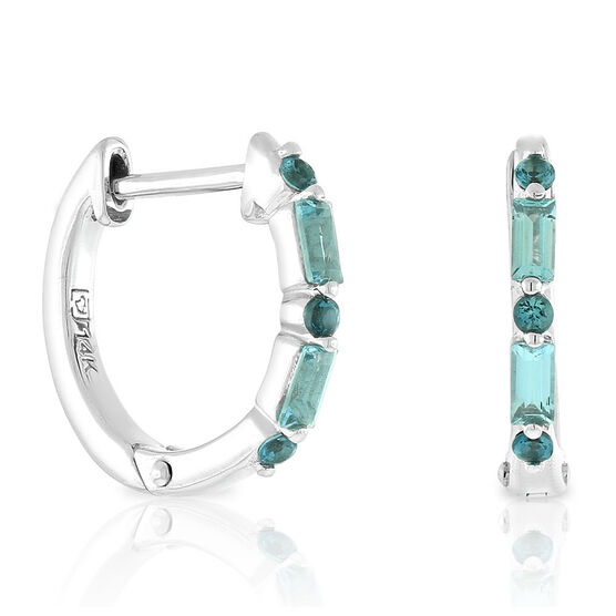 Blue Topaz Huggie Hoop Earrings 14K