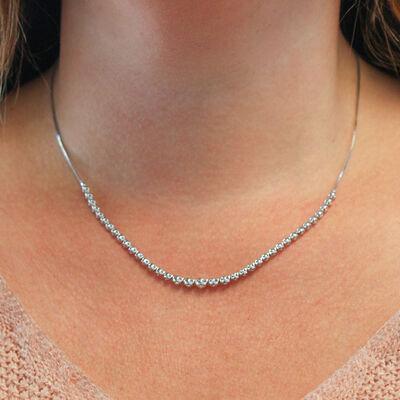 Sliding Clasp Diamond Choker Necklace 14K