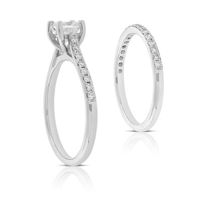 Ikuma Canadian Princess Cut Diamond Bridal Set 14K