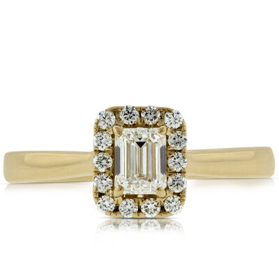 Emerald Cut Halo Ring 14K
