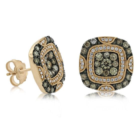 Rose Gold Brown & White Diamond Earrings 14K