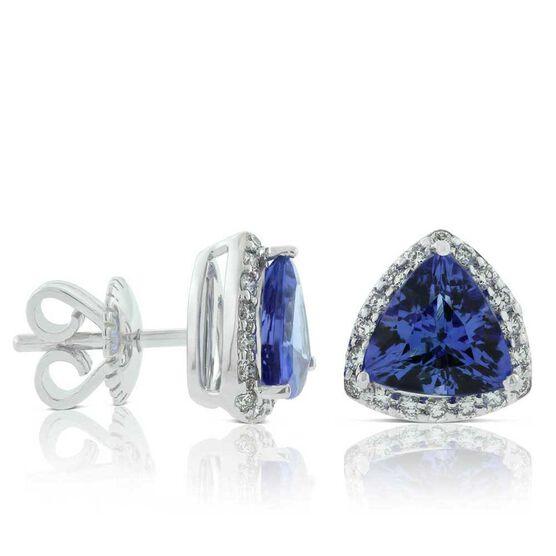 Trillion Cut Tanzanite & Diamond Halo Stud Earrings 14K