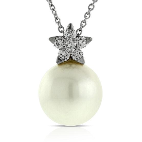 Diamond & Cultured Freshwater Pearl Pendant 14K