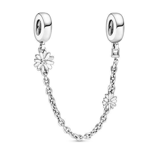 Pandora Daisy Flower CZ Safety Chain Charm