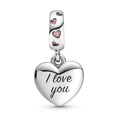 Pandora Mom Script Heart Enamel & CZ Dangle Charm