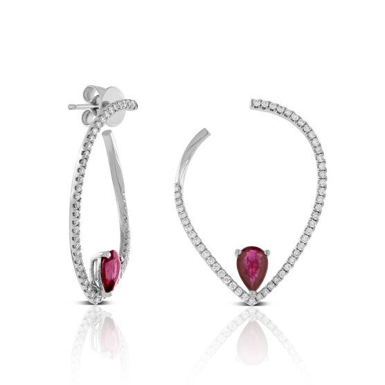 Ruby & Diamond Pear Front to Back Hoop Earrings 14K
