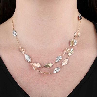 Toscano Leaf Stations Necklace 14K