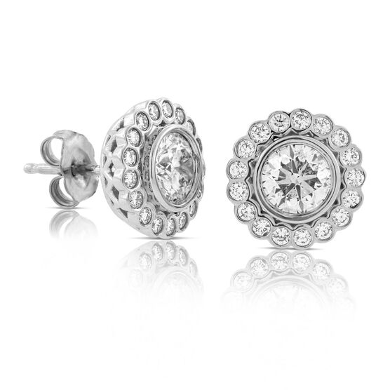 Bezel Set Halo Diamond Earrings 14K, 2 ctw.
