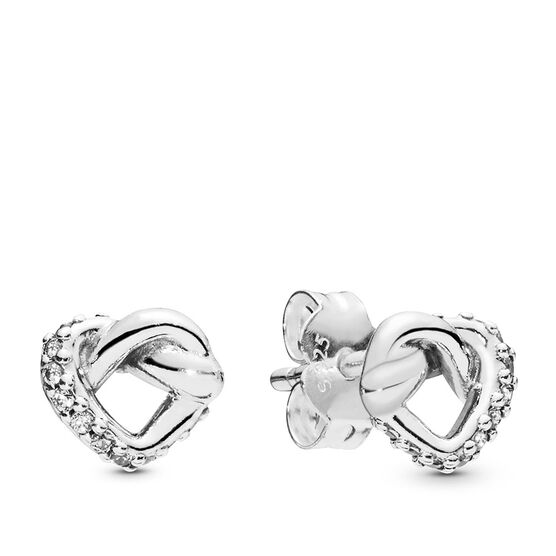 PANDORA Knotted Heart Stud CZ Earrings