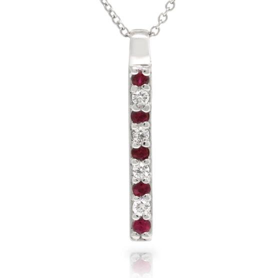 Ruby & Diamond Stick Pendant 14K