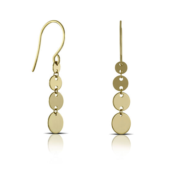 Disc Dangle Earrings 14K