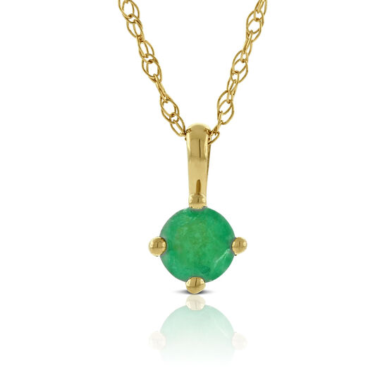 Round Emerald Pendant 14K
